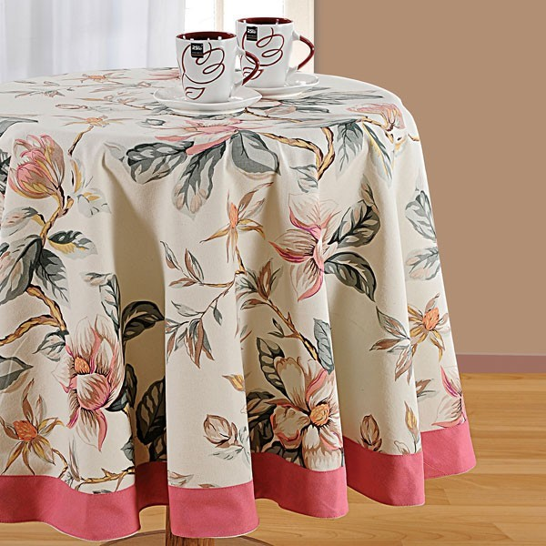 Swayam Camellia floral  Round Table Linen